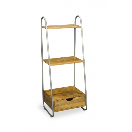 Industrial Living Reclaimed 3 Tier Standing Shelf Unit, Solid Pine Wood