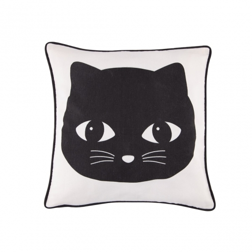 Sass & Belle Square Applique Cat Cotton Cushion, Black