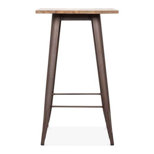 Xavier Pauchard Tolix Style Metal Bar Table with Wood Top - Rustic 102cm