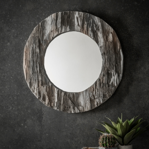 Era Rustic Style Driftwood Round Mirror, Solid Wood