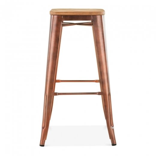 Xavier Pauchard Tolix Style Stool with Natural Wood Seat - Vintage Copper 75cm