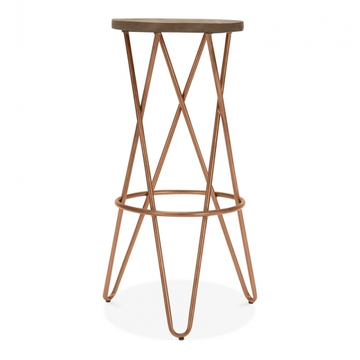 Cult Living Hairpin Crossed Leg Stool with Dark Wood Seat - Vintage Copper 75cm