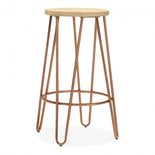 Cult Living Hairpin Stool with Natural Wood Seat - Vintage Copper 66cm