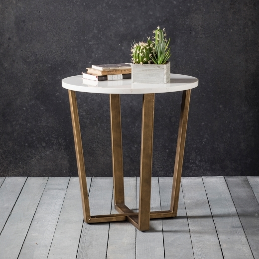 Gatsby Round Marble Side Table, White and Gold