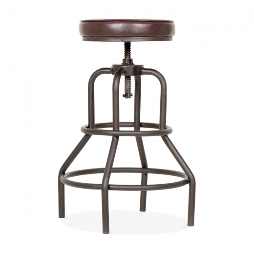 Cult Living Jet Metal Swivel Bar Stool, Faux Leather Upholstered, Brown 62-75cm