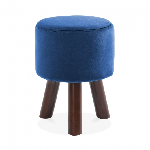 Cult Living Perry Funky Tripod Low Stool, Solid Pine, Navy Velvet 45cm