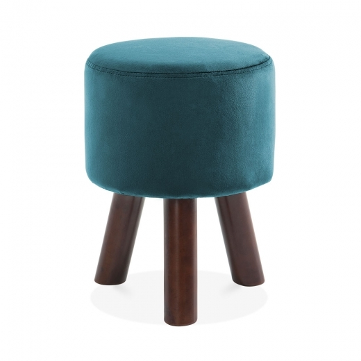 Cult Living Perry Funky Tripod Low Stool, Solid Pine, Teal Velvet 45cm