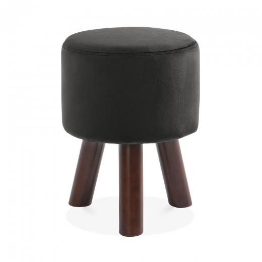 Cult Living Perry Funky Tripod Low Stool, Solid Pine, Black Velvet 45cm