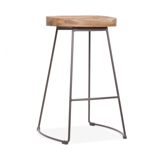 Cult Living Victoria Metal Bar Stool with Wood Seat Option - Rustic 65cm