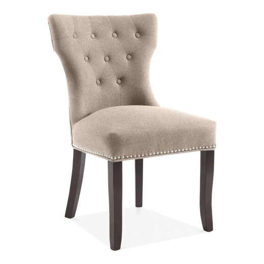 Cult Living Regent Button Back Dining Chair, Wool Upholstered, Cream