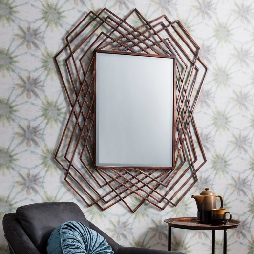 Vortex Modern Geometric Metal Wall Mirror, Copper
