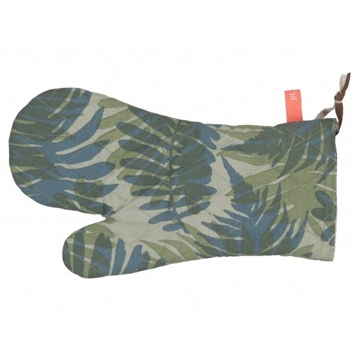 Present Time Palm Print Cotton Oven Glove - Green