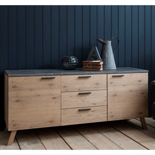 Verita Modern Sideboard, Oak and Concrete