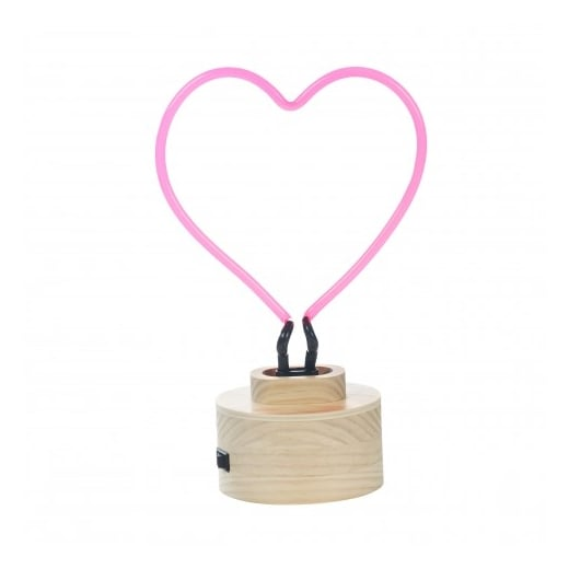 Lumosnap Neon Heart Table Lamp, Wood Base, Red