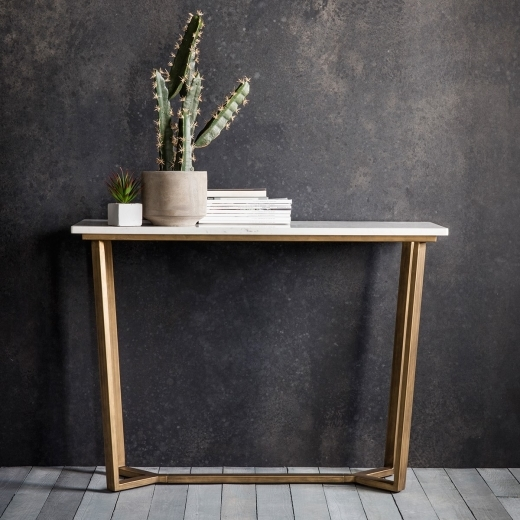 Gatsby Contemporary Marble Console Table, White and Gold