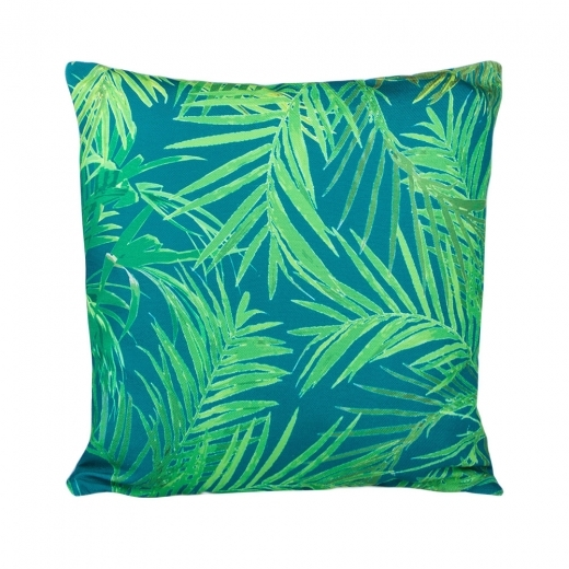 Cult Living Palm Print Fabric Cushion, Blue and Green