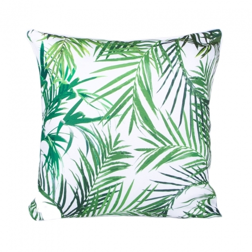 Cult Living Palm Print Fabric Cushion, White and Green