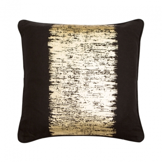 Cult Living Metallic Stripe Cotton Cushion, Black and Gold