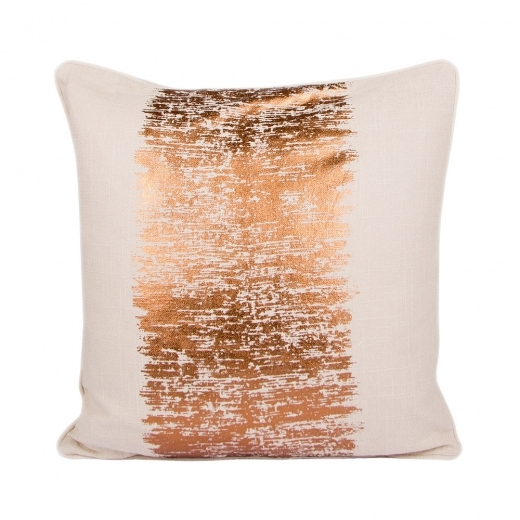 Cult Living Metallic Stripe Cotton Cushion, Cream and Copper