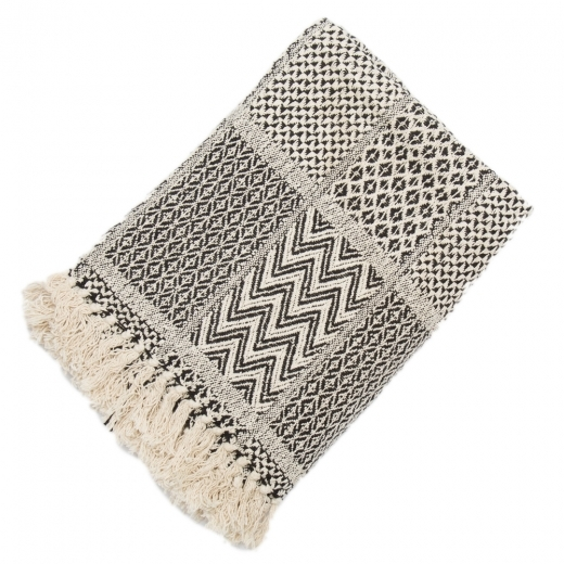 Cult Living Patchwork Recycled Cotton Throw, Black and Cream