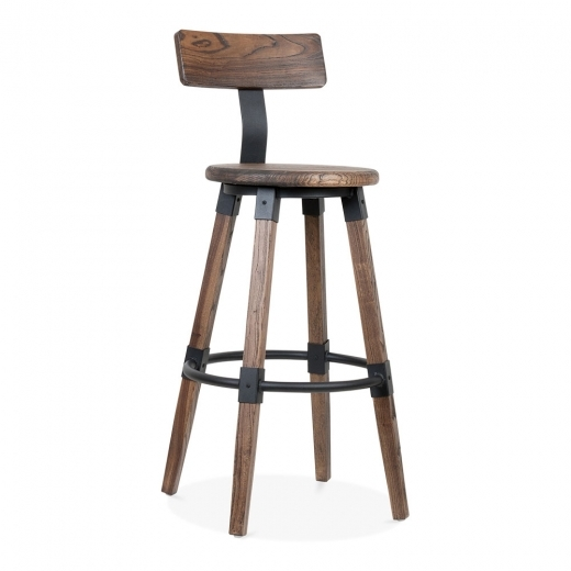 Cult Living Bastille Round Bar Stool with Backrest - Brown Wood 75cm
