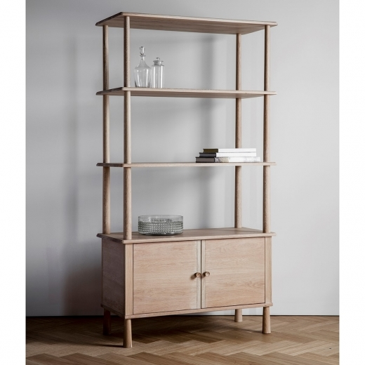 Alpine Modern Open Display Cabinet, Oak