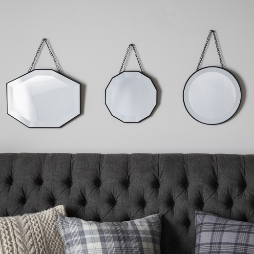 Vintage Style Hanging Wall Mirrors, Set of 3