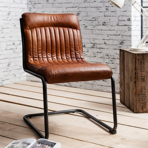 Blake Metal Dining Chair, Leather Upholstered, Brown
