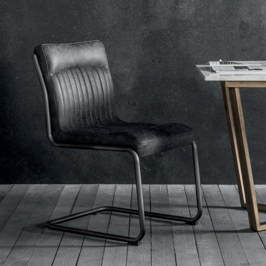 Blake Metal Dining Chair, Leather Upholstered, Black