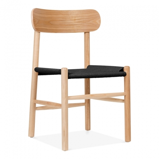 Cult Living Anders Dining Chair, Solid Beech Wood & Black Rattan Seat, Natural
