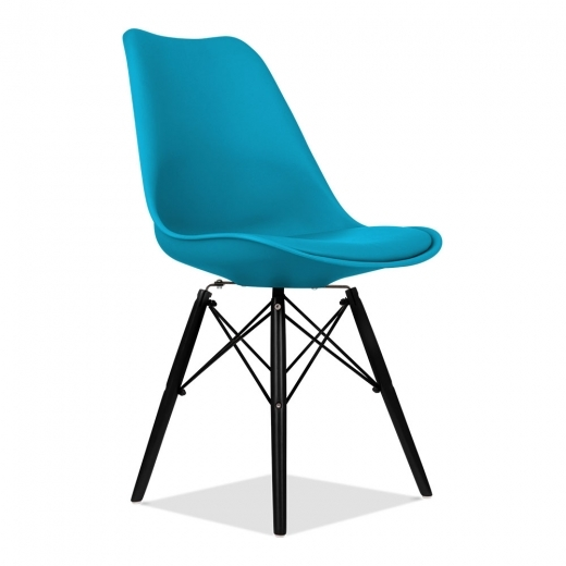Eames Inspired Marine Blue Dining Chair with DSW Style Wood Legs - Clearance Sale