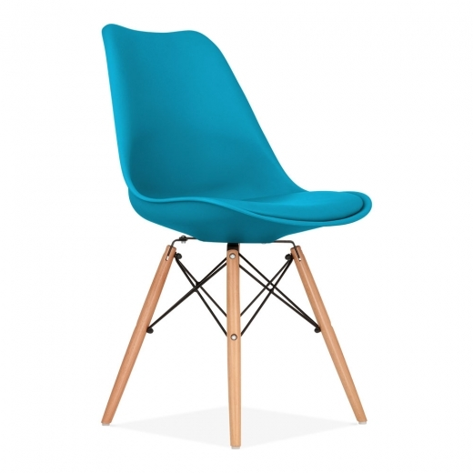 Eames Inspired Marine Blue Dining Chair with DSW Style Wood Legs
