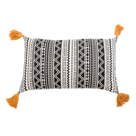 Cult Living Aztec Masi Mara Tassle Cushion, Black and White