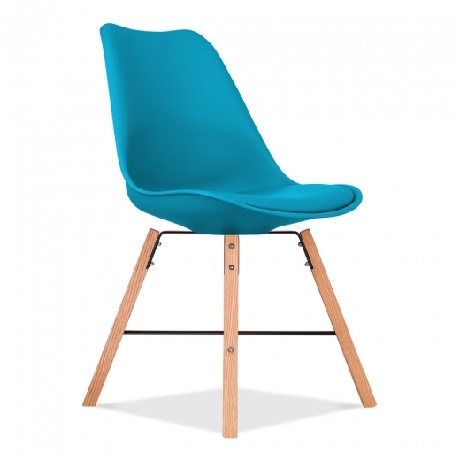 Eames Inspired Soft Pad Dining Chair With Cross Brace Legs - Marine Blue