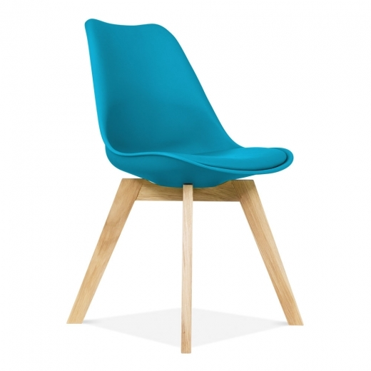Eames Inspired Dining Chairs With Solid Oak Crossed Wood Leg Base - Marine Blue