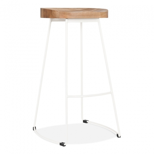 Cult Living Victoria Metal Bar Stool with Wood Seat Option - White 75cm