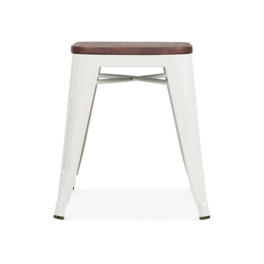 Xavier Pauchard Tolix Style Metal Stool with Dark Wood Seat - Off-White 45cm