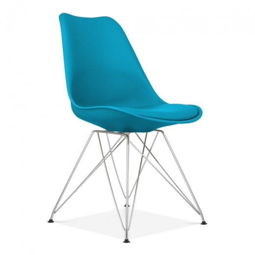 Eames Inspired Dining Chair with Eiffel Metal Legs - Marine Blue