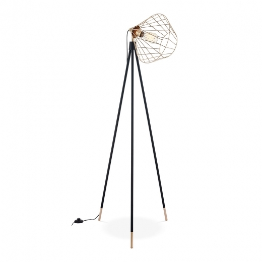 Cult Living Hamilton Caged Metal Tripod Floor Lamp, Black and Gold