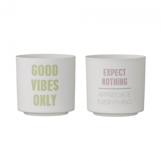 Bloomingville Set of 2 Candle Votive Pots, Good Vibes, White