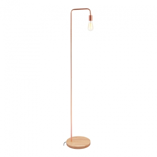 Cult Living Elegance Metal Floor Lamp, Wood Base, Copper