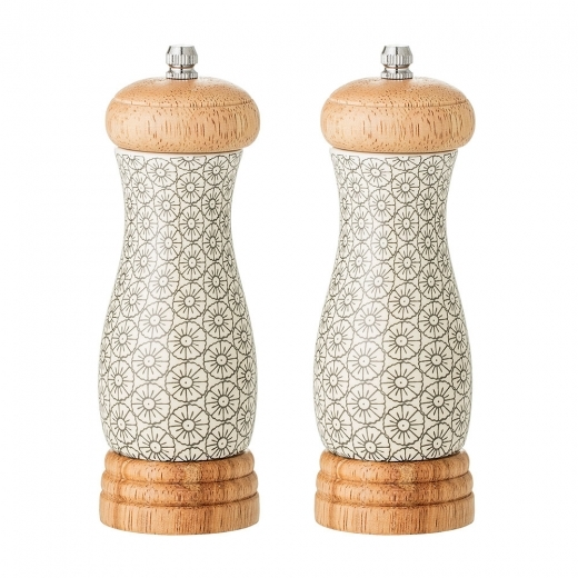 Cult Home Cecile Ceramic Salt and Pepper Mill Set, Grey