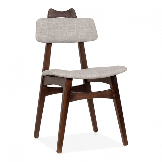Cult Living Anja Ash Wood Dining Chair, Fabric Upholstered, Light Grey