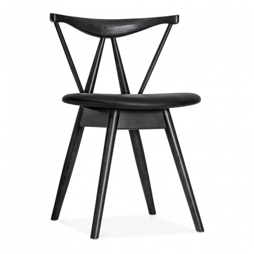 Cult Living Kite Wooden Dining Chair with Soft Pad PU Seat, Black