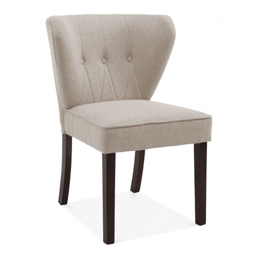 Cult Living Chancery Wingback Dining Chair, Wool Upholstered, Cream - Clearance Sale
