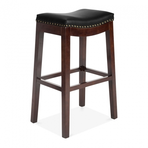 Cult Living Oxford Wooden Bar Stool, Faux Leather Upholstered, Black 75cm