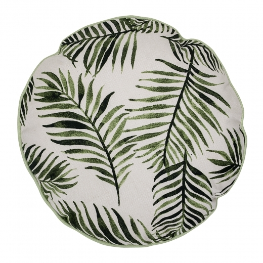Bloomingville Palm Leaf Round Cotton Cushion, Green