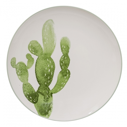 Cult Home Watercolour Cactus Ceramic Dinner Plate, Green