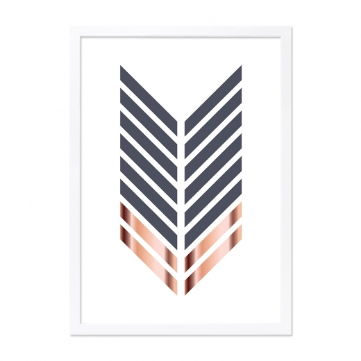 Cult Living Arrow Print Framed Poster, Grey and Copper, A2