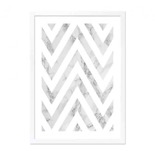 Cult Living Chevron Marble Print Framed Poster, Grey and White, A2